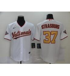 Men's Nike Washington Nationals #37 Stephen Strasburg White Gold Home Stitched Baseball Jersey