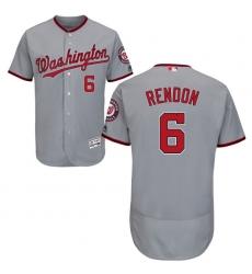 Men's Majestic Washington Nationals #6 Anthony Rendon Grey Road Flex Base Authentic Collection MLB Jersey