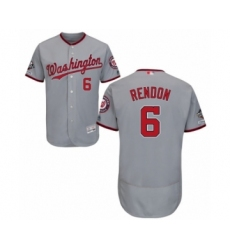 Men's Washington Nationals #6 Anthony Rendon Grey Road Flex Base Authentic Collection 2019 World Series Champions Baseball Jersey