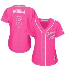 Women's Majestic Washington Nationals #6 Anthony Rendon Replica Pink Fashion Cool Base MLB Jersey