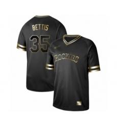 Men's Colorado Rockies #35 Chad Bettis Authentic Black Gold Fashion Baseball Jersey