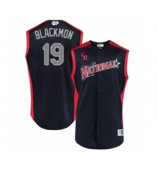 Men's Colorado Rockies #19 Charlie Blackmon Authentic Navy Blue National League 2019 Baseball All-Star Jersey