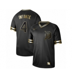 Men's Detroit Tigers #4 Omar Infante Authentic Black Gold Fashion Baseball Jersey