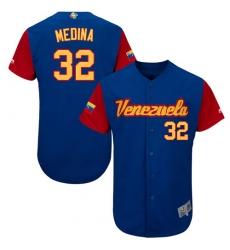 Men's Venezuela Baseball Majestic #32 Jhondaniel Medina Royal Blue 2017 World Baseball Classic Authentic Team Jersey