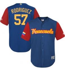 Men's Venezuela Baseball Majestic #57 Francisco Rodriguez Royal Blue 2017 World Baseball Classic Replica Team Jersey