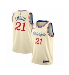 Men's Philadelphia 76ers #21 Joel Embiid Swingman Cream Basketball Jersey - 2019 20 City Edition