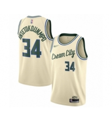 Men's Milwaukee Bucks #34 Giannis Antetokounmpo Swingman Cream Basketball Jersey - 2019 20 City Edition