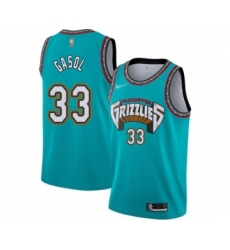 Men's Memphis Grizzlies #33 Marc Gasol Authentic Green Hardwood Classic Basketball Jersey
