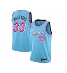Men's Miami Heat #33 Alonzo Mourning Swingman Blue Basketball Jersey - 2019 20 City Edition