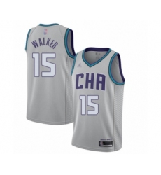 Men's Jordan Charlotte Hornets #15 Kemba Walker Swingman Gray Basketball Jersey - 2019 20 City Edition