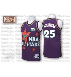 Men's Adidas Charlotte Hornets #25 Alonzo Mourning Swingman Purple 1995 All Star Throwback NBA Jersey