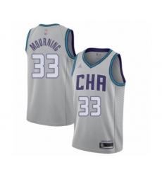 Men's Jordan Charlotte Hornets #33 Alonzo Mourning Swingman Gray Basketball Jersey - 2019 20 City Edition