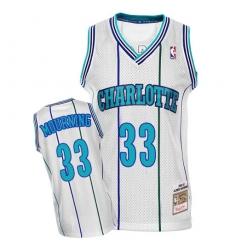 Men's Mitchell and Ness Charlotte Hornets #33 Alonzo Mourning Swingman White Throwback NBA Jersey