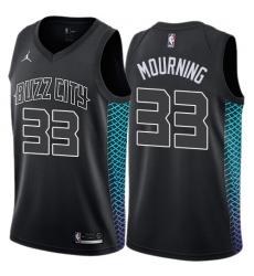 Women's Nike Jordan Charlotte Hornets #33 Alonzo Mourning Swingman Black NBA Jersey - City Edition