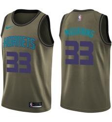 Youth Nike Charlotte Hornets #33 Alonzo Mourning Swingman Green Salute to Service NBA Jersey
