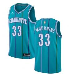 Youth Nike Jordan Charlotte Hornets #33 Alonzo Mourning Swingman Aqua Hardwood Classics NBA Jersey