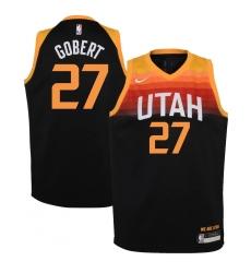 Youth Utah Jazz #27 Rudy Gobert Nike Black 2020-21 Swingman Jersey