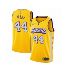 Men's Los Angeles Lakers #44 Jerry West Swingman Gold 2019-20 City Edition Basketball Jersey