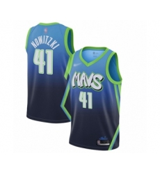 Men's Dallas Mavericks #41 Dirk Nowitzki Swingman Blue Basketball Jersey - 2019 20 City Edition