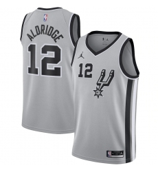 Men's San Antonio Spurs #12 LaMarcus Aldridge Jordan Brand Silver 2020-21 Swingman Jersey