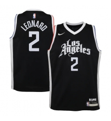 Youth LA Clippers #2 Kawhi Leonard Nike Black 2020-21 Swingman Jersey