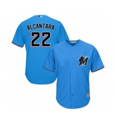 Youth Miami Marlins #22 Sandy Alcantara Authentic Blue Alternate 1 Cool Base Baseball Jersey
