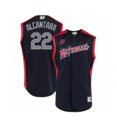 Youth Miami Marlins #22 Sandy Alcantara Authentic Navy Blue National League 2019 Baseball All-Star Jersey