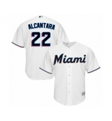 Youth Miami Marlins #22 Sandy Alcantara Authentic White Home Cool Base Baseball Jersey