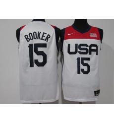 Men's Phoenix Suns #15 Devin Booker White USA Basketball Tokyo Olympics 2021 Jersey