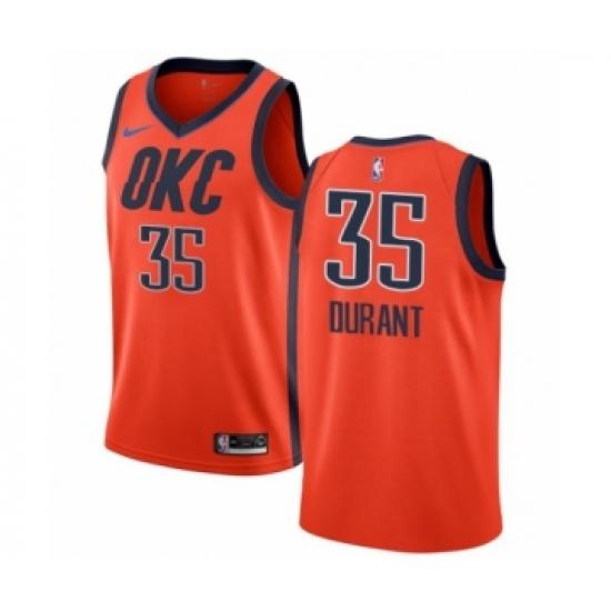 Men's Nike Oklahoma City Thunder #35 Kevin Durant Orange Swingman Jersey - Earned Edition