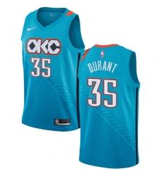 Youth Nike Oklahoma City Thunder #35 Kevin Durant Swingman Turquoise NBA Jersey - City Edition