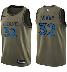 Youth Nike Minnesota Timberwolves #32 Karl-Anthony Towns Swingman Green Salute to Service NBA Jersey