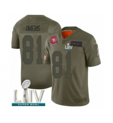 Men's San Francisco 49ers #81 Terrell Owens Limited Olive 2019 Salute to Service Super Bowl LIV Bound Football Jersey