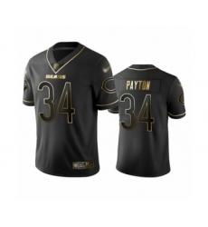 Men's Chicago Bears #34 Walter Payton Limited Black Golden Edition Football Jersey