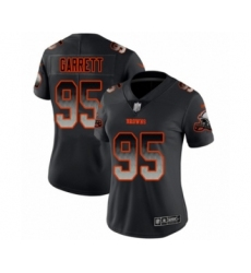 Women's Cleveland Browns #95 Myles Garrett Limited Black Smoke Fashion Football Jersey
