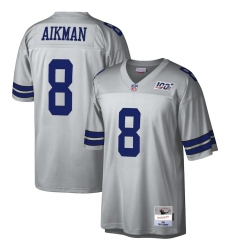 Men's Dallas Cowboys #8 Troy Aikman Mitchell & Ness Platinum NFL 100 Retired Player Legacy Jersey