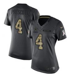 Women's Nike Dallas Cowboys #4 Dak Prescott Limited Black 2016 Salute to Service NFL Jersey