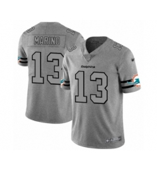 Men's Miami Dolphins #13 Dan Marino Limited Gray Team Logo Gridiron Football Jersey