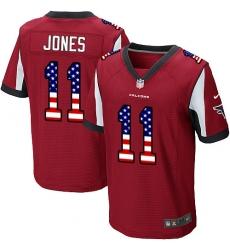 Men's Nike Atlanta Falcons #11 Julio Jones Elite Red Home USA Flag Fashion NFL Jersey