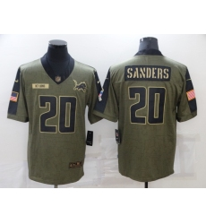 Men's Detroit Lions #20 Barry Sanders Nike Olive 2021 Salute To Service Limited Player Jersey