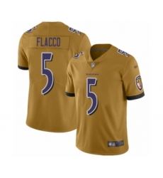 Men's Baltimore Ravens #5 Joe Flacco Limited Gold Inverted Legend Football Jersey