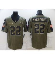 Men's Carolina Panthers #22 Christian McCaffrey Nike Olive 2021 Salute To Service Limited Player Jersey