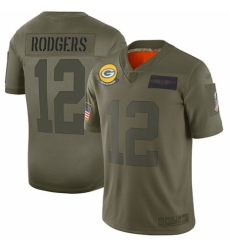 Men's Green Bay Packers #12 Aaron Rodgers Limited Camo 2019 Salute to Service Football Jersey