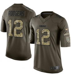 Men's Nike Green Bay Packers #12 Aaron Rodgers Elite Green Salute to Service NFL Jersey