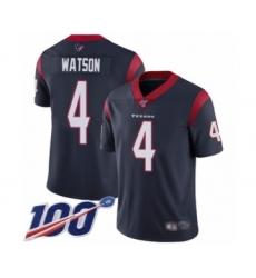 Men's Nike Houston Texans #4 Deshaun Watson Navy Blue Team Color Vapor Untouchable Limited Player 100th Season NFL Jersey