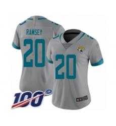 Women's Nike Jacksonville Jaguars #20 Jalen Ramsey Silver Inverted Legend Limited 100th Season NFL Jersey