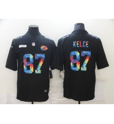 Men's Kansas City Chiefs #87 Travis Kelce Black Rainbow Version Nike Limited Jersey